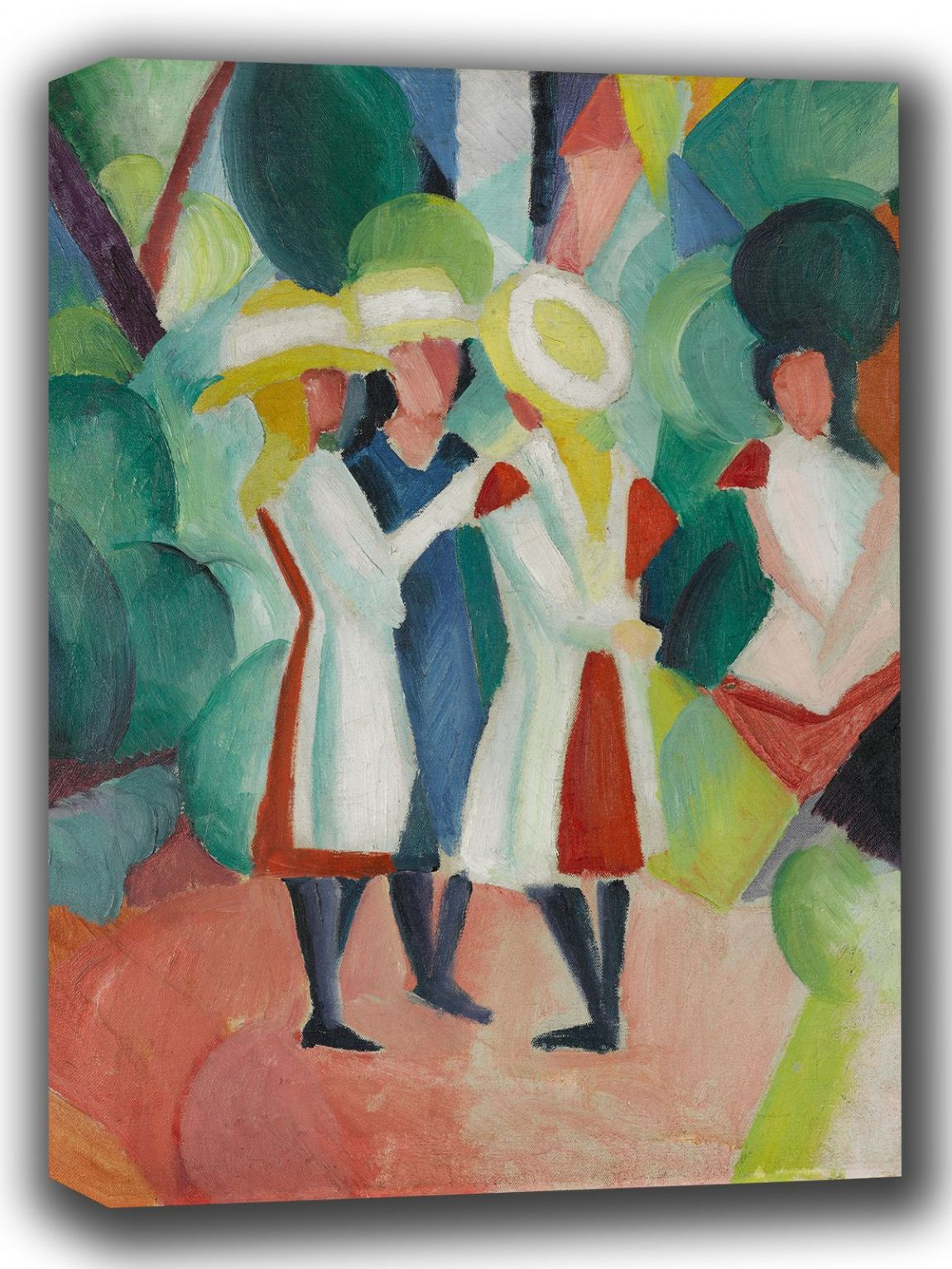 Macke, August: Three Girls in Yellow Straw Hats. Fine Art Canvas. Sizes: A4/A3/A2/A1 (002175)